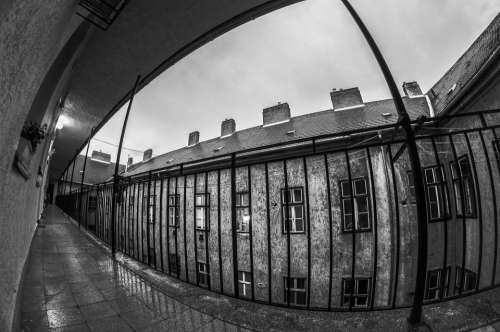 House Fisheye Apartment Rain War Black And White