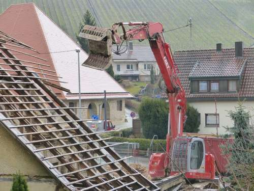 House Demolition Roof Work Excavators Site