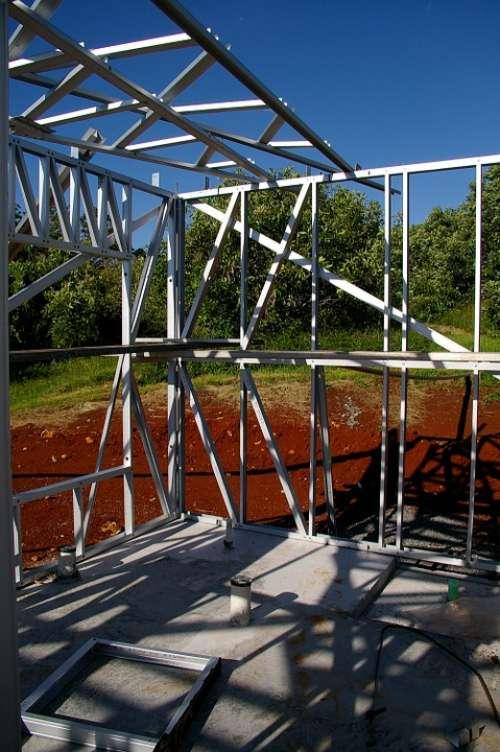 House Building Building Steel Frame Frame Geometric
