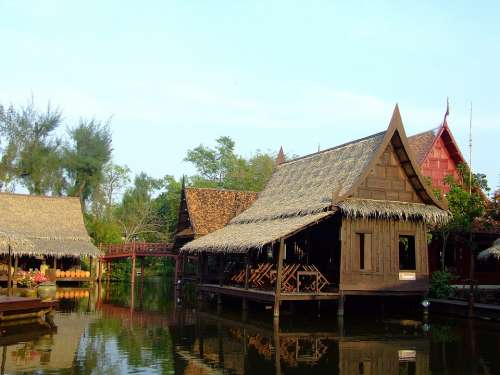 Houses Wooden Thailand Thai River Asian Floating