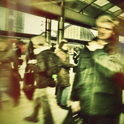 Human Railway Station Restless Hustle And Bustle
