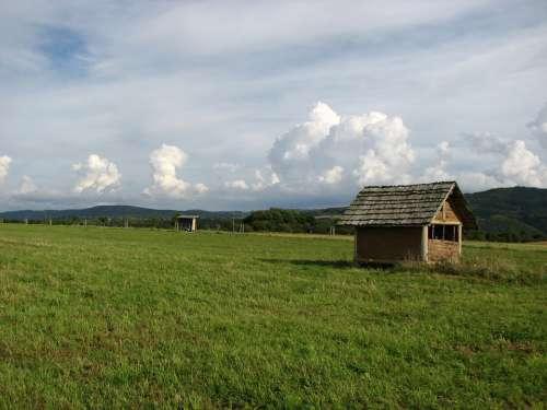 Hut Pasture Meadow Log Cabin Eifel Hike Landscape