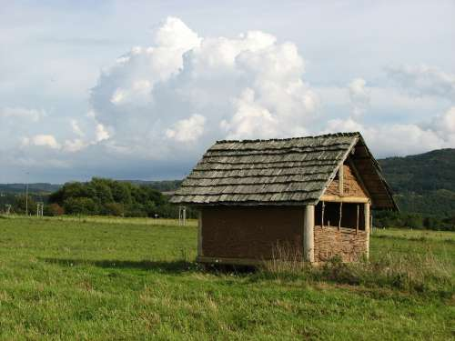 Hut Pasture Clouds Meadow Log Cabin Eifel