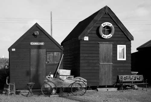 Huts Cabins Shacks Wooden Handcart Life Ring