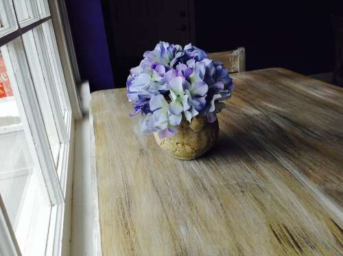 Hydrangea Flowers Purple Rustic Wood Table Window