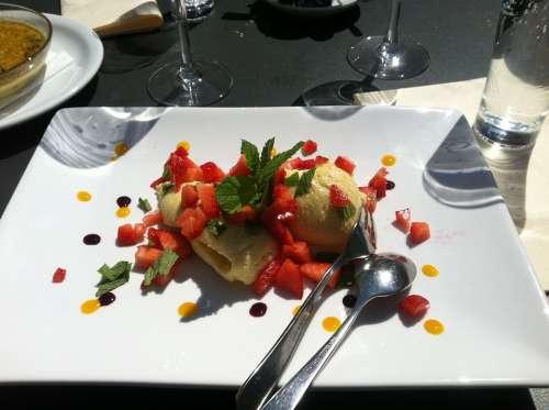 Ice Strawberries Dessert Mint