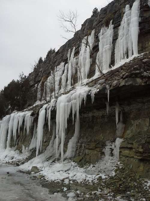 Ice Nature Limestone Rocks Cold Freeze Weather