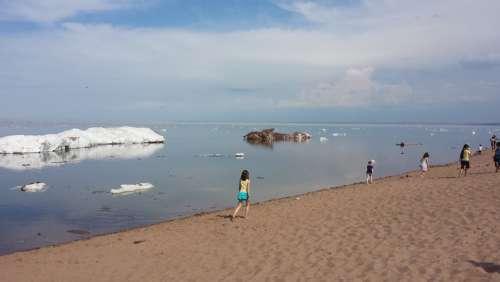 Ice Summer Lake Superior Minnesota Frozen Odd