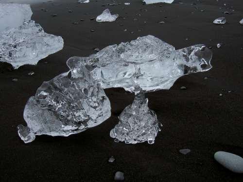 Ice Transparent Beach Black Iceland Chunks Of Ice