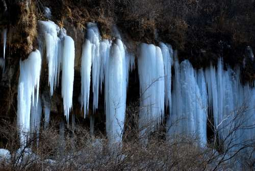 Ice Frozen Drip Waterfall Dripping Mountains