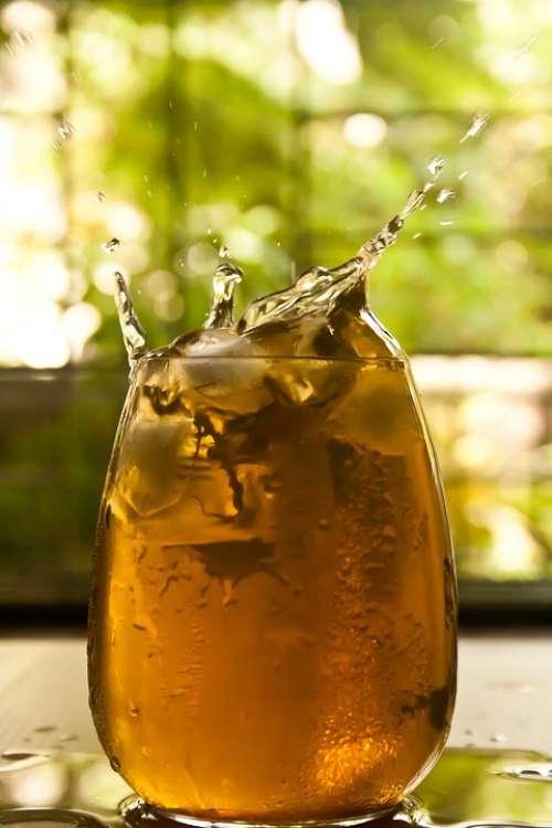 Ice Cube Drop Splash Liquid Beverage Drink Glass