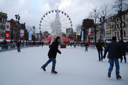 Ice Skating Skating Slopes Ferris Wheel Brussels