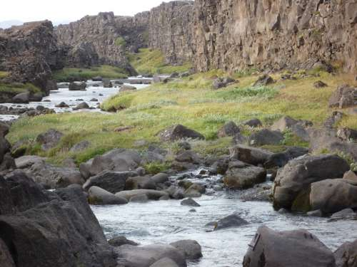 Iceland Nature Landscape Waterfall