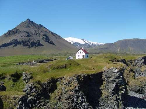 Iceland Glacier House Lava Volcanic Rock Hilly