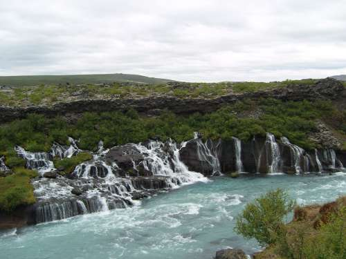 Iceland Waterfalls Turquoise River Bach Landscape
