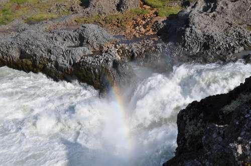 Iceland Godafoss Waterfall Nature