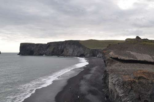 Iceland Lava Beach Water Rock Black Stone