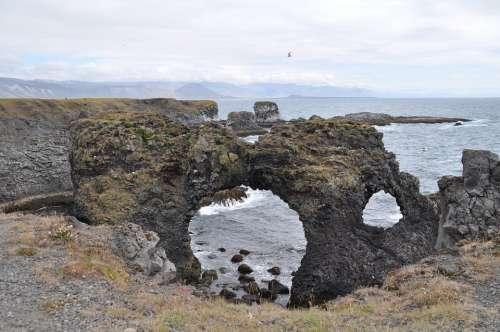 Iceland Lava Beach Water Rock Black Stone Erosion