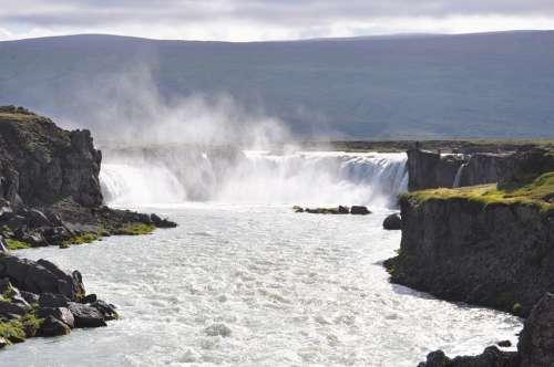Iceland Waterfall Godafoss Nature Water Landscape