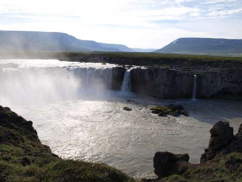 Iceland Landscape Waterfall Water River