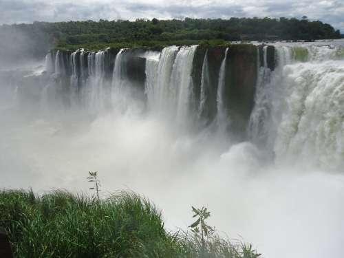Iguazu Waterfall Falls Landscape Brazil