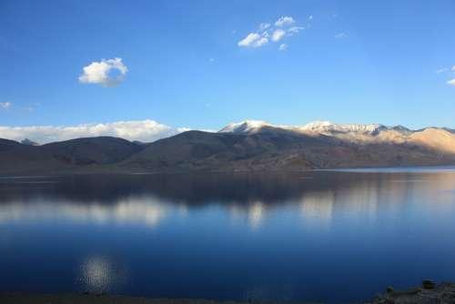 India Ladakh Tsomoriri Lake Mirroring