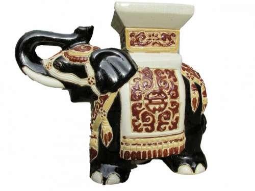 India Animal Elephant Porcelain Isolated White