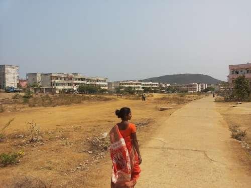 India Woman Walking Living Rural Female