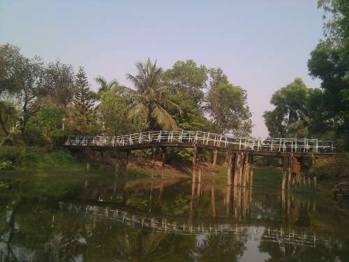 India Sky Clouds Bridge Scenic Trees Stream