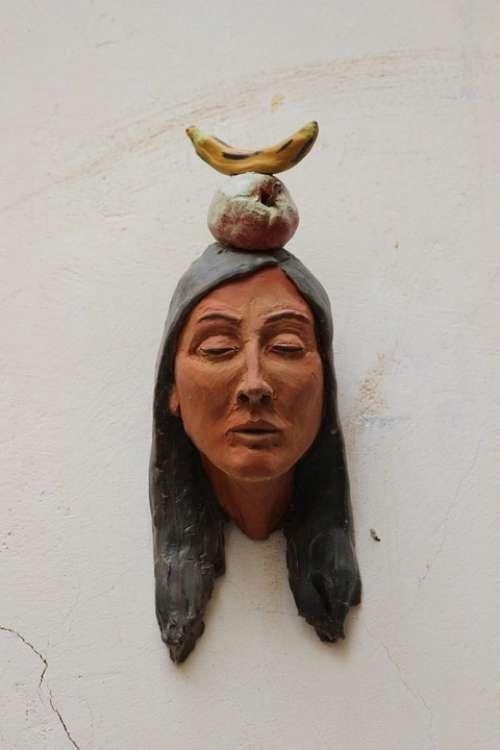 Indians Head Bust Clay Figure Ceramic Banana