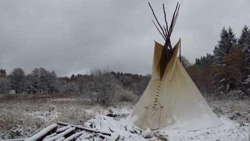 Indijánský Tent Tipis Jindrichovice Camping Snow