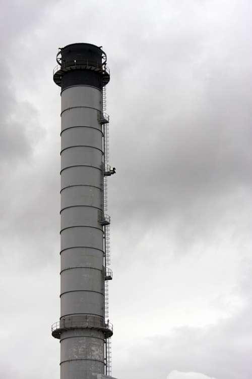 Industry Industrial Chimney Flue Tall High Gray