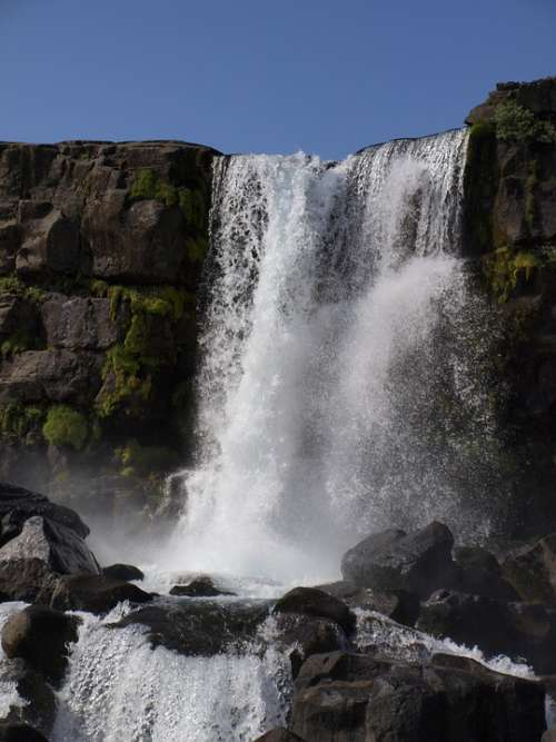 Þingvellir Iceland Landscape Wass Waterfall