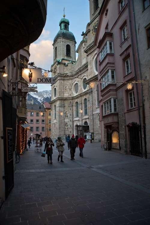 Innsbruck Town Austria Winter Evening Basilica