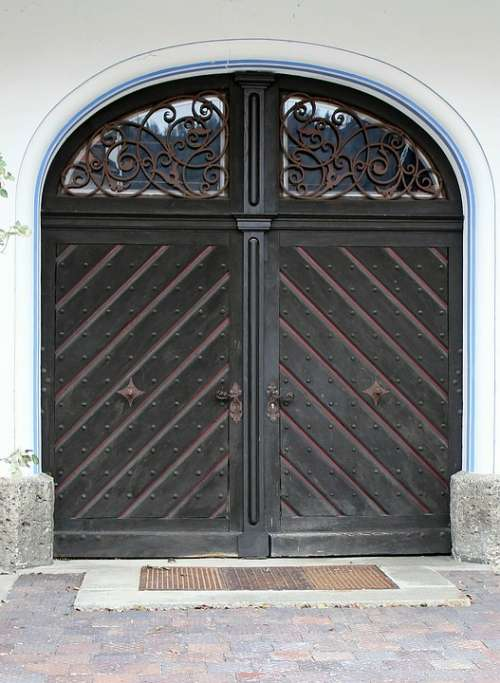 Input Hinged Door Double Door Round Arch Door Wood