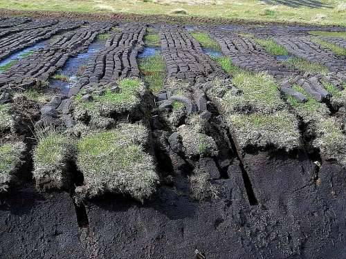 Ireland Cutting Peat Field Landscapes Nature