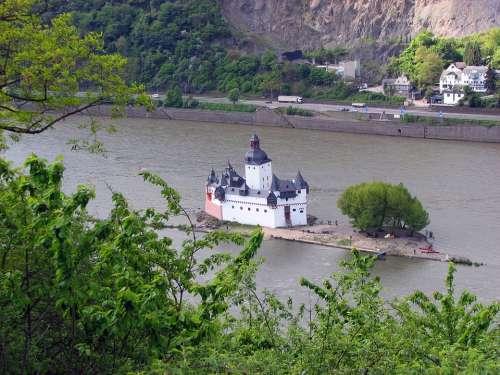 Island Kaub Castle Rhine Water River