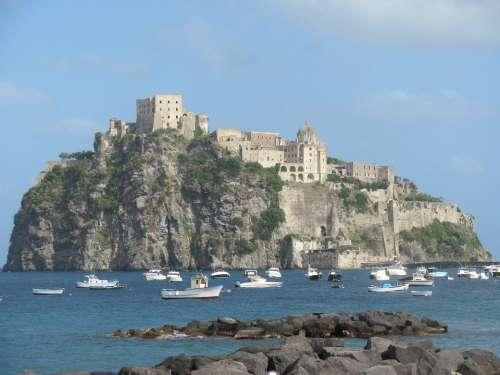 Isle Ischia Castle Sea Island Italy