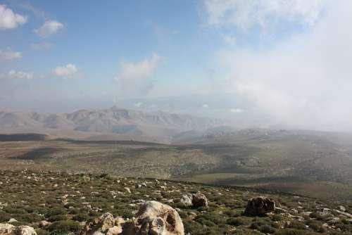 Israel Samaria Mountains Clouds Landscape Sky