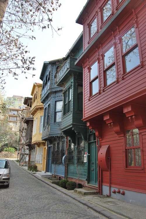 Istanbul Turkey Kuzguncuk Konak Alley Road Houses