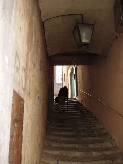 Italy Cortona Stairs Senior Citizen Architecture