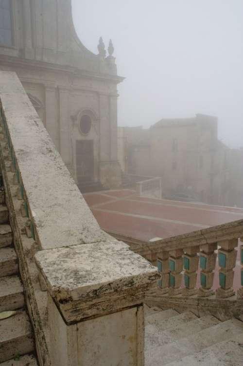 Italy Sicily Caltagirone Fog
