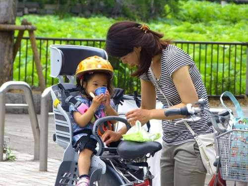 Japan Tokyo Ueno Women Kid Japanese Park Bicycle