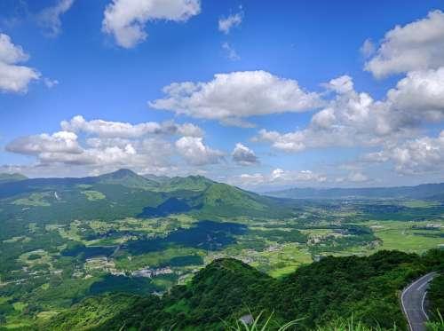 Japan Aso Cloud Kumamoto Green Caldera