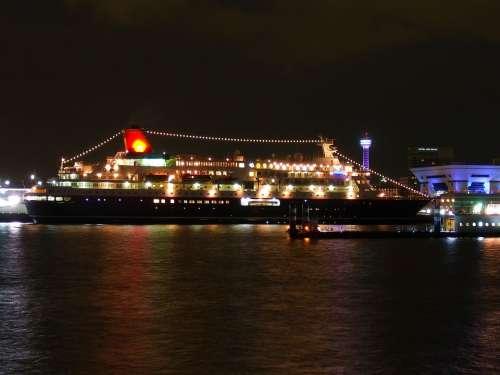 Japan Cruise Liner Pier Bay Harbor Water Lights