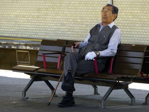 Japanese Old Man Sitting Grandpa Thinking Bench