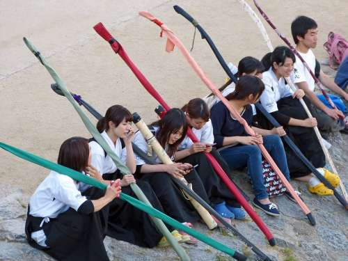 Japanese Sitting Students Uniform Young Teenager