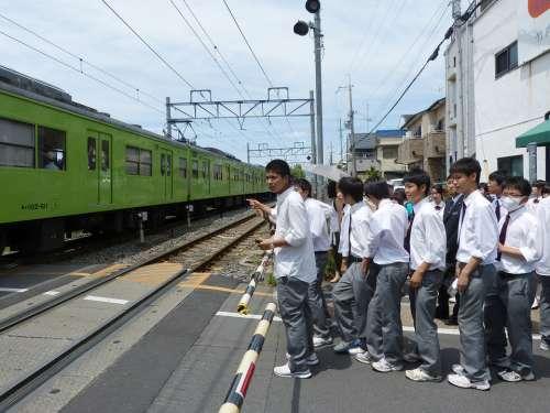 Japanese Boys Students Waiting Uniform Halt