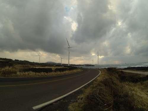 Jeju Island Korea Road Clouds Coast Shore Windy