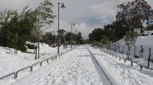 Jerusalem Snow Israel Railway Road Winter